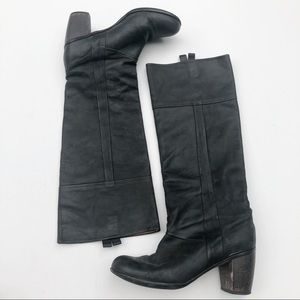 Coclico Washed Black Leather Heeled Pull On Boots